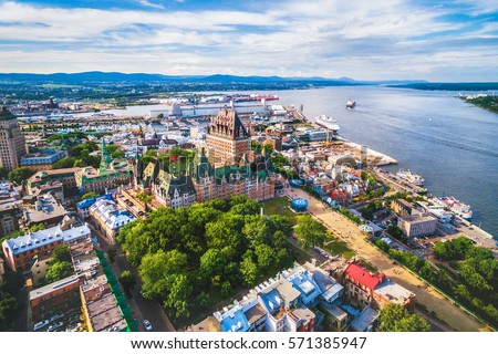 Aerial view of Chateau Frontenac hotel and Old Port in Quebec City, Canada. #571385947