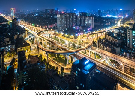 Aerial View of Chengdu overpass at Night. #507639265