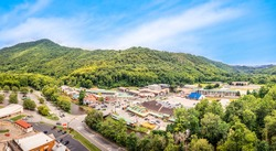 Aerial view of Cherokee, North Carolina. Cherokee is the capital of the federally recognized Eastern Band of Cherokee Nation and part of the traditional homelands of the Cherokee people.