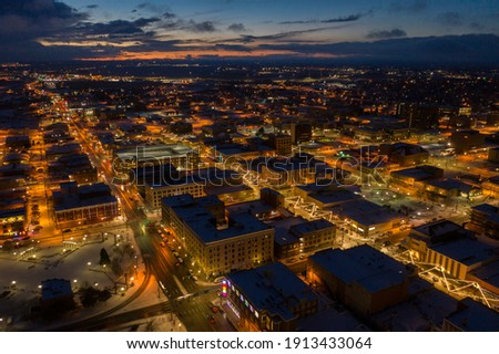 Aerial View of Cheyenne, Wyoming at Dusk during Winter ストックフォト ©