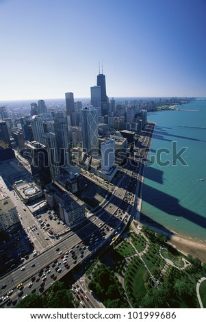 Aerial view of Chicago and Lake Michigan