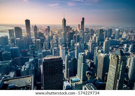 Aerial view of Chicago city skyline, USA #574229734