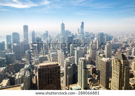 aerial view of chicago city usa