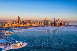 Aerial View of Chicago During Polar Vortex