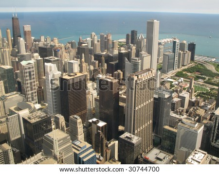 Aerial view of Chicago, Illinois looking north-east from the Sears Tower