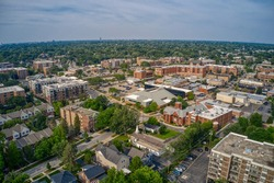 Aerial View of Chicago Suburb Downers Grove, Illinois in Summer