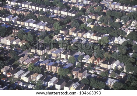 Aerial view of Chicago suburbs, IL