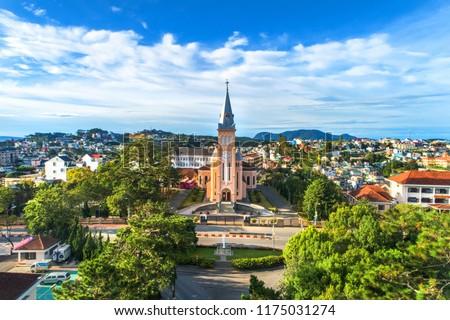 Photo of  Aerial view of Chicken church in Da Lat city, Vietnam. Tourist city in developed Vietnam.