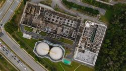 Aerial View of chiller and cooler fan on top of building for industrial purpose.