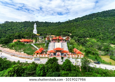 Aerial view of Chinese temple on Phu Quoc, Kien Giang, Vietnam. Ho Quoc pagoda