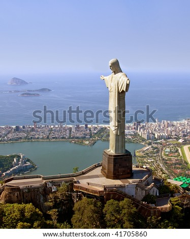 Aerial View of Christ the Redeemer Monument in Rio De Janeiro, Brazil