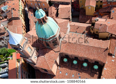 Aerial view of Church of San Bartolomeo and Gaetano near Piazza Ravegnana from top of Asinelli tower, Bologna, Italy