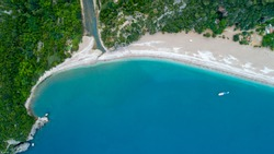 Aerial view of Cirali Beach and Olimpos in Antalya Turkey. Olympos City