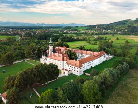 Aerial view of Cistercian monastery Kostanjevica na Krki, homely appointed as Castle Kostanjevica, Slovenia, Europe. Stock photo ©