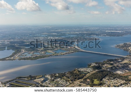 Aerial view of city Bradenton, Florida. Approach to land at the airport in St. Petersburg. Manatee River, Florida
