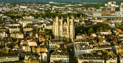 Aerial view of city center of Nantes in France