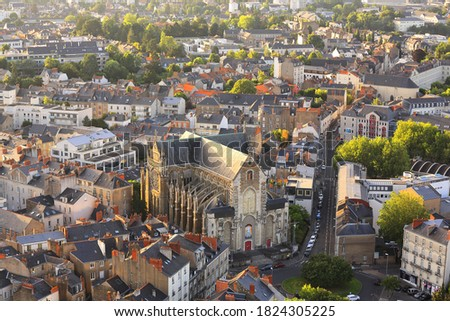 Aerial view of city center of Nantes in France Photo stock ©