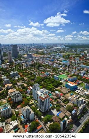 Aerial view of city in Bangkok