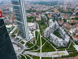 Aerial view of City Life Milano, Three Towers, bird view of