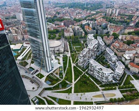 Aerial view of City Life Milano, Three Towers, bird view of 'Il Dritto', 'Lo Storto' e 'Il Curvo'. Drone photography in the beautiful city of Milano, Lombardia, north Italy. Skyscrapers in Europe. Foto d'archivio ©