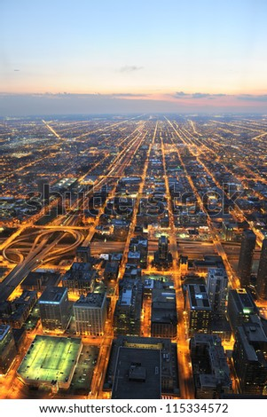 Aerial view of city of Chicago at sunset