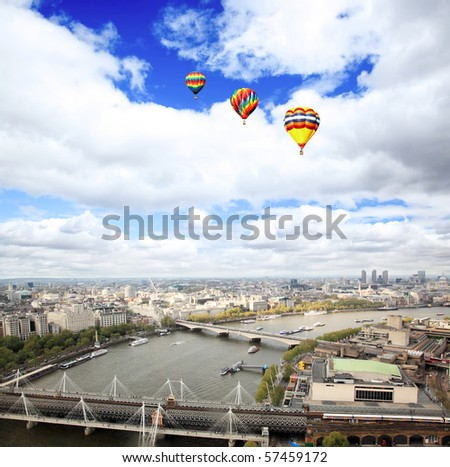 Aerial view of city of London from the London Eye