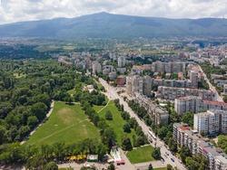 Aerial view of city of Sofia near South Park, Bulgaria