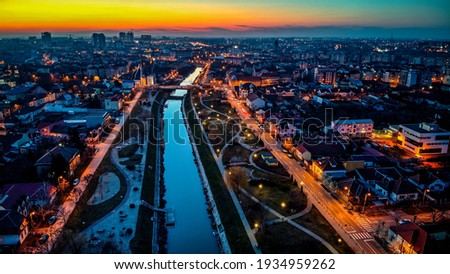 Aerial view of city of Timisoara at dusk. Photo taken on 3rd of March 2021 Timisoara, Timis County, Romania. Foto stock ©