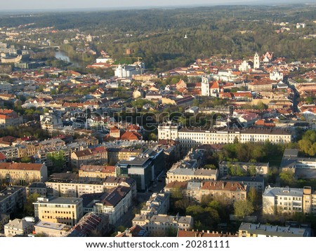 Aerial view of city of Vilnius (Lithuania) old town