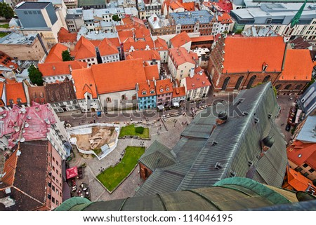 Aerial view of city Riga from St. Peter's Church, Latvia