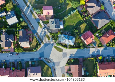 aerial view of city suburbs