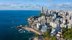 Aerial view of cityscape of Salvador, modern city skyline with skyscrapers - Bahia, Brazil, landscape panorama of South America from above