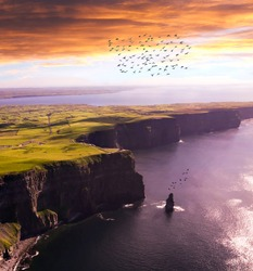 Aerial view of Cliffs of Moher at Sunset