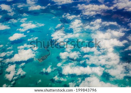 Aerial view of clouds and Florida keys