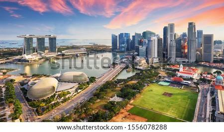 Aerial view of Cloudy sky at Marina Bay Singapore city skyline Photo stock ©