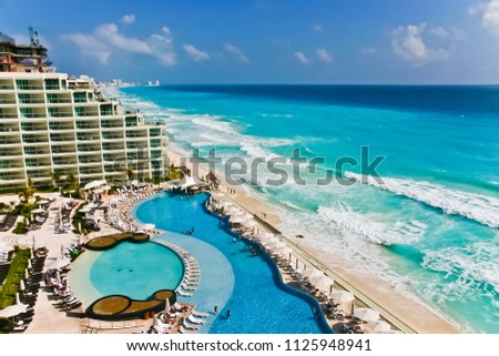 aerial view of coastline of cancun mexico #1125948941