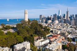 Aerial View of Coit Tower and Downtown San Francisco Daytime