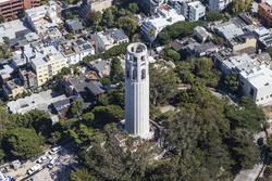 Aerial View of Coit Tower Park in San Francisco, California.
