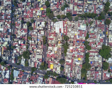 Aerial view of Colonia Pensil Sur, overpopulation in the city of Mexico