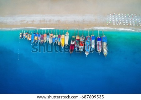 aerial view of colorful boats...