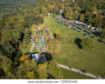 aerial view of colorful ferris...