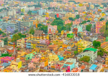 aerial view of colorful homes Indian city Trichy, Tamil Nadu