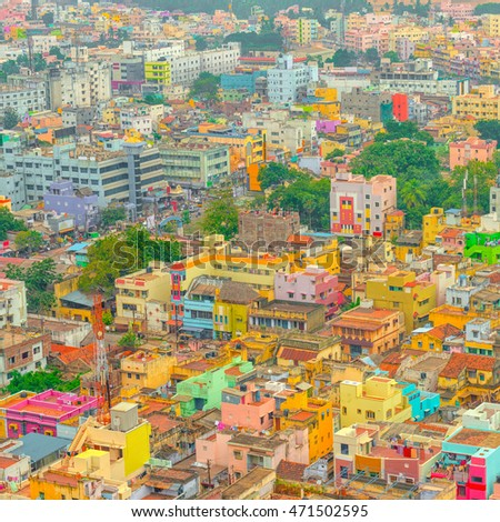 aerial view of colorful homes...