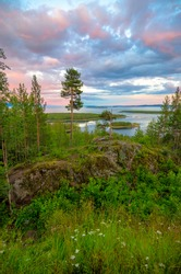 Aerial view of Colorful sunset landscape on the coast of the North Sea. Karelian pine on the rocks on the shore of the White Sea. Coast Murmansk region, Kandalaksha Nature Reserve