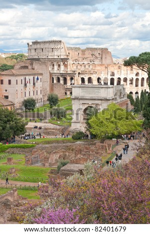 aerial view of Colosseum from roman forum Rome Italy with cloud scape