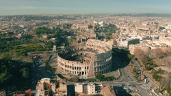 Aerial view of Colosseum or Coliseum amphitheatre in Rome, Italy