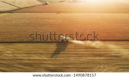 Aerial view of combine harvester harvesting wheat. Beautiful wheat field at sunset. Combine harvester working on the large wheat field.