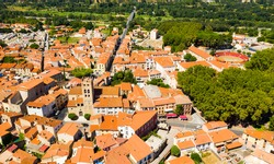 Aerial view of commune Millas in Pyrenees-Orientales, southern France