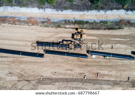 aerial view of construction of gas pipeline Trans Adriatic Pipeline - TAP in north Greece. The pipeline starts from the Caspian sea and reaches the coast of southern Italy