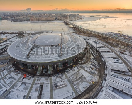 Shutterstock Aerial view of Construction of the stadium Zenit arena  at sunset, most expensively in the world, the FIFA World Cup in 2018, northwest high-speed diameter, the snow, the frozen river Neva